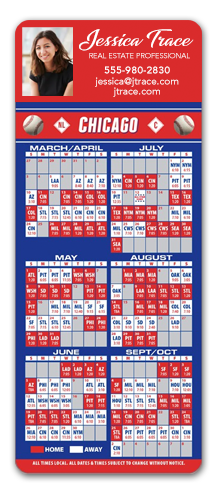 Magnetic Baseball Schedule with Laminated Business Card