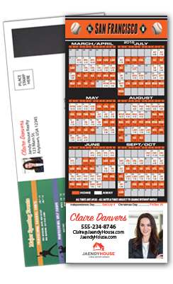 Magnetic Real Estate Baseball Schedule Self-Mailer