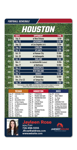 Full Magnet 3.5'' x 6'' Football Schedule| RealEstateCalendars.com