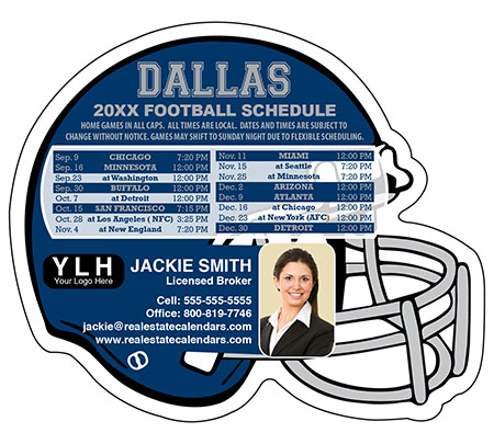 Full Magnet 4.25'' x 3.5'' Helmet Shaped Football Schedule| RealEstateCalendars.com