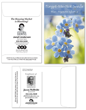 Black Ink Customized Seed Packets for Real Estate Agent Promotion | RealEstateCalendars.com