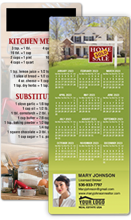 Custom calendar magnets for real estate marketing and promotional give-awayss