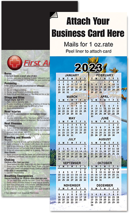 Calendar magnets for refrigerator with peel and stick area for real estate business card