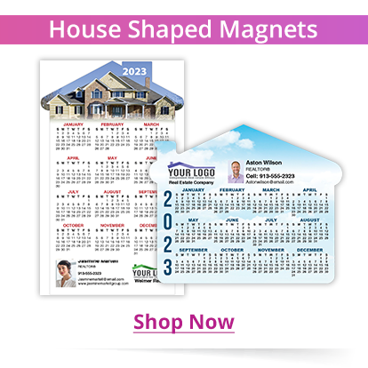 House shaped refrigerator magnets with 2021 calendar