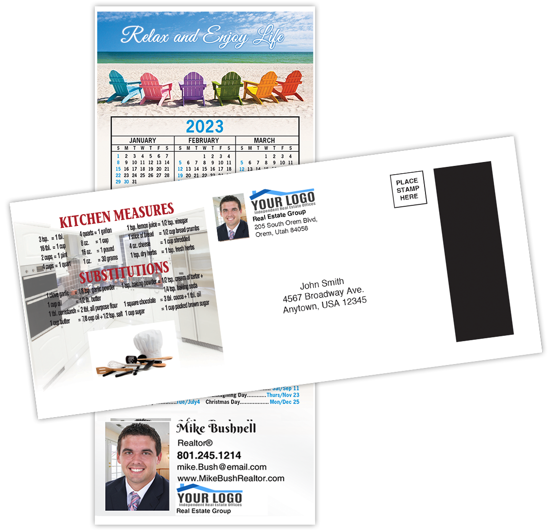 Self-mailing real estate magnetic calendar for 2021 from realestatecalendars dot com